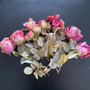 Lot of 9 silk rose floral stems from Michaels